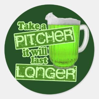 Take a Pitcher It Will Last Longer Classic Round Sticker