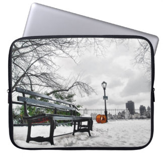 Take a Seat in Snowy Central Park! Laptop Sleeve