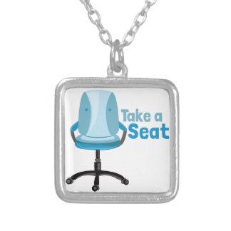 Take A Seat Square Pendant Necklace