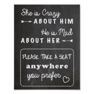 Take a seat wedding sign chalkboard posters