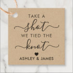 """Take a Shot We Tied the Knot Wedding Gift Tag<br><div class=""""desc"""">These are the perfect little gift tags. You can customize front and back text,  as well as change the colors.</div>"""