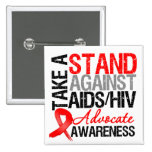 Take a Stand Against AIDS HIV 2 Inch Square Button
