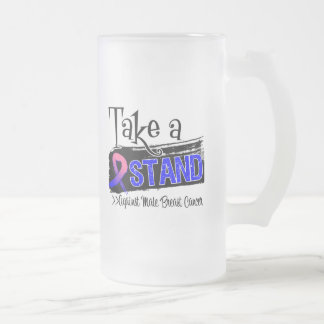 Take a Stand Against Male Breast Cancer 16 Oz Frosted Glass Beer Mug