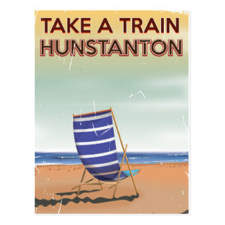 Take a train to hunstanton vintage travel poster postcard