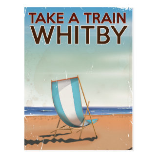 Take a train to Whitby vintage travel poster Post Card