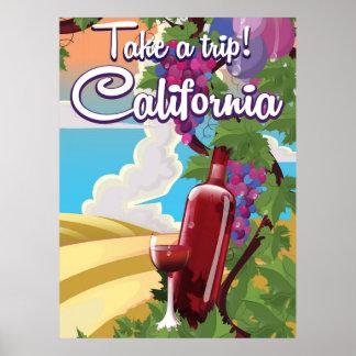 Take a Trip! California vintage wine travel poster
