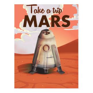 Take a Trip to Mars vintage travel poster. Postcard