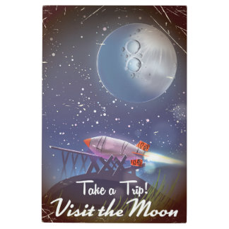 Take a Trip! Visit the Moon vintage cartoon poster
