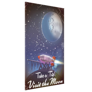 Take a Trip! Visit the Moon vintage cartoon poster Canvas Print