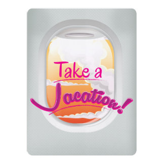 Take a Vacation airline window poster Card