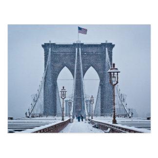 Take a Walk on the Snowy Brooklyn Bridge Postcard