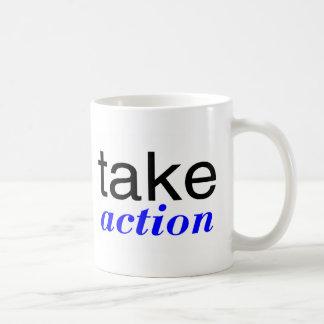 Take Action Blue Mugs