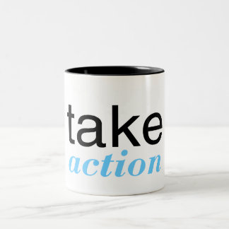 Take Action Lt Blue Two-Tone Coffee Mug