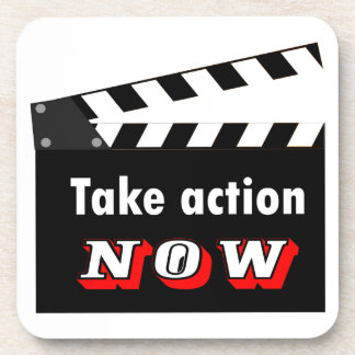 TAKE ACTION NOW CLAPPERBOARD COASTER