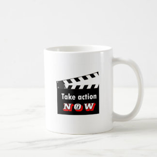 TAKE ACTION NOW CLAPPERBOARD COFFEE MUG