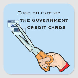 Take away the government credit cards square sticker
