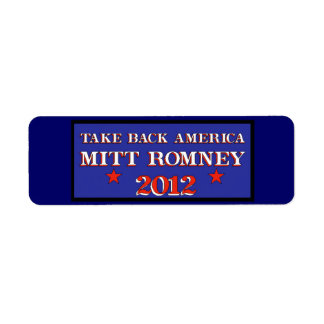 Take Back America Romney 2012 Label