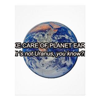 Take Care of Planet Earth! It's not Uranus... Letterhead