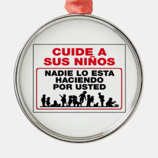 Take Care of Your Children, Sign, Mexico Round Metal Christmas Ornament