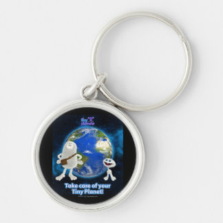 Take Care of Your Tiny Planet Silver-Colored Round Keychain