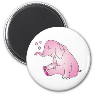 Take Care Pink Elephant 2 Inch Round Magnet