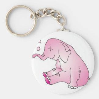 Take Care Pink Elephant Basic Round Button Keychain