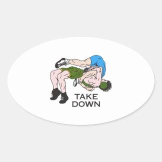 Take Down Oval Sticker