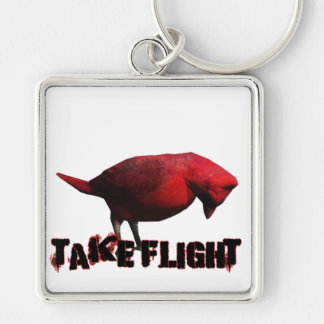 Take Flight 3D Cardinal Silver-Colored Square Keychain