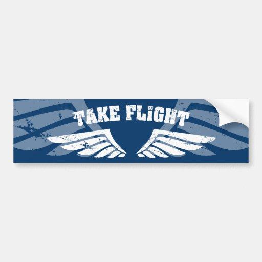 Take Flight Aviation Wings Bumper Sticker