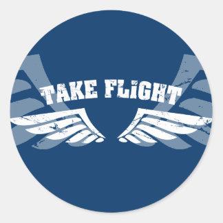 Take Flight Aviation Wings Classic Round Sticker