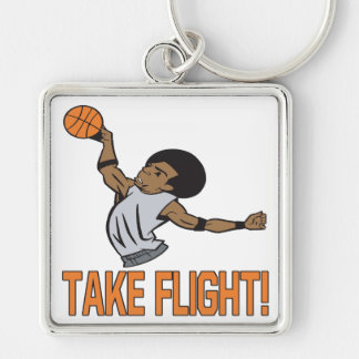 Take Flight Silver-Colored Square Keychain