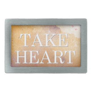 """Take Heart"" Scripture Design Rectangular Belt Buckle"