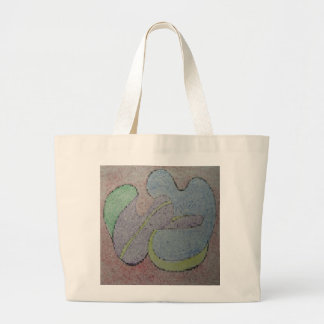 Take in one's arms mosaic image oil pastel large tote bag