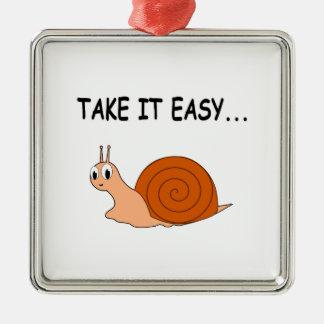 Take It Easy Cute Cartoon Snail Metal Ornament