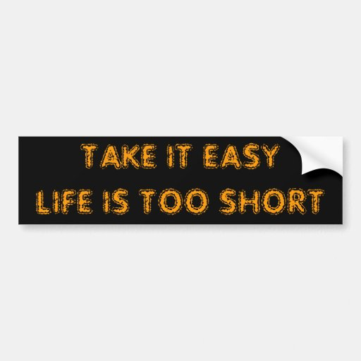 TAKE IT EASYLIFE IS TOO SHORT BUMPER STICKER