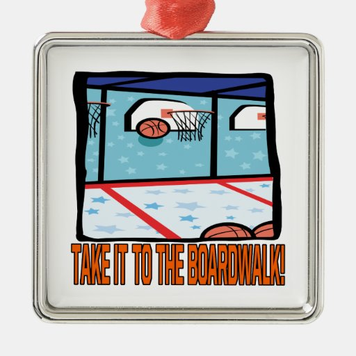 Take It To The Boardwalk Square Metal Christmas Ornament