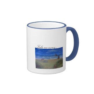 Take me away oil painting coffee cup ringer coffee mug