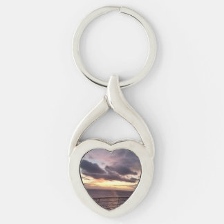 Take Me Away Silver-Colored Heart-Shaped Metal Keychain