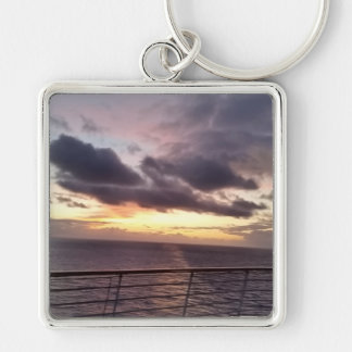 Take Me Away Silver-Colored Square Keychain