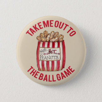 Take Me Out to Baseball game vintage look button