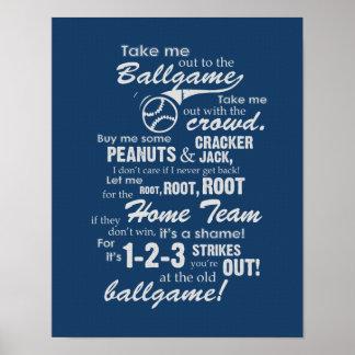 Take Me Out To The Ballgame - Blue Poster