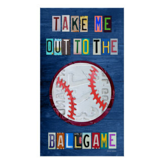 Take Me Out to the Ballgame License Plate Art Poster