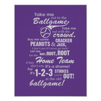 Take Me Out To The Ballgame - Purple Poster