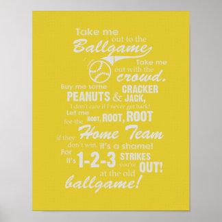 Take Me Out To The Ballgame - Yellow Poster