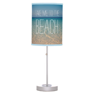 Take Me to the Beach Ocean Summer Blue Sky Sand Desk Lamp