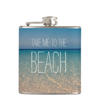 Take Me to the Beach Ocean Summer Blue Sky Sand Hip Flask
