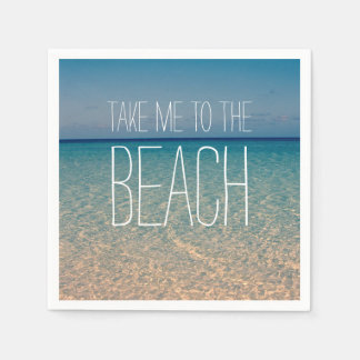 Take Me to the Beach Ocean Summer Blue Sky Sand Paper Napkin