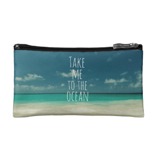 Take Me to the Ocean Quote Cosmetic Bag
