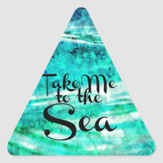 Take Me to the Sea, Colorful Typography Abstract Triangle Sticker
