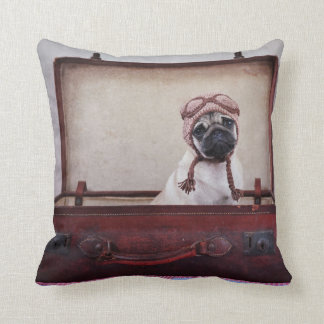 """""""Take me with you"""" Pug Puppy Throw Pillow. Pillow"""